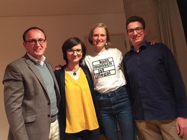 v.l.: Jörg Vieweg (SPD), Susanne Melde (IOC), Paula Moser (Grüne Jugend), Moritz Gieß (RLC Dresden)